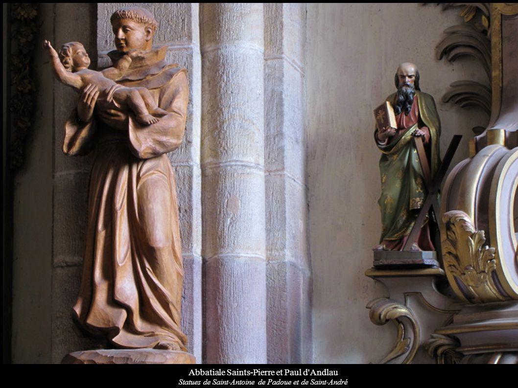 Abbatiale Saints-Pierre et Paul d'Andlau Statues de Saint-Antoine de Padoue et de Saint-André