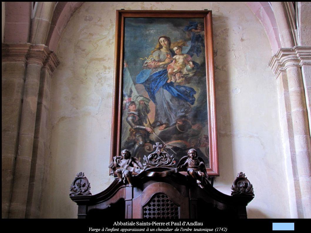 Abbatiale Saints-Pierre et Paul d'Andlau Vierge à l'enfant apparaissant à un chevalier de l'ordre teutonique (1742)
