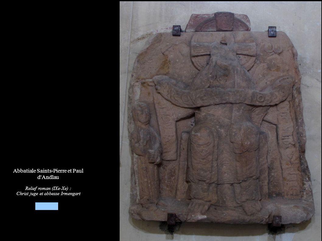 Abbatiale Saints-Pierre et Paul d'Andlau Relief roman (IXe-Xe) : Christ juge et abbesse Irmengart