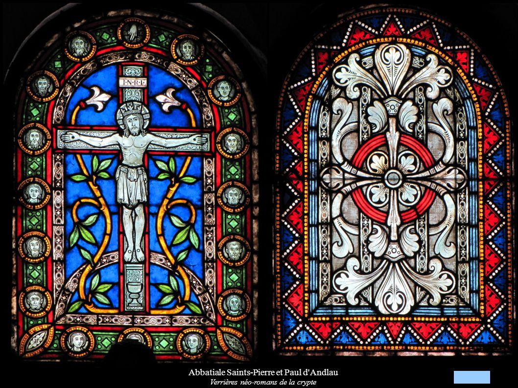 Abbatiale Saints-Pierre et Paul d'Andlau Verrières néo-romans de la crypte