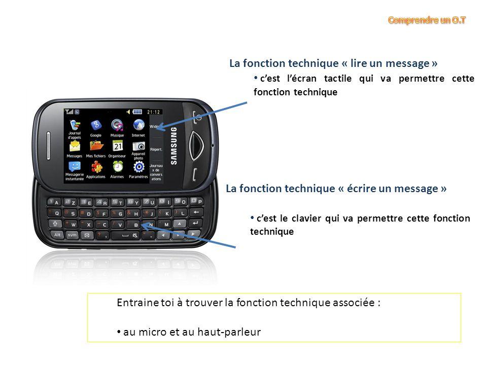 La fonction technique « lire un message » c'est l'écran tactile qui va permettre cette fonction technique Entraine toi à trouver la fonction technique associée : au micro et au haut-parleur La fonction technique « écrire un message » c'est le clavier qui va permettre cette fonction technique