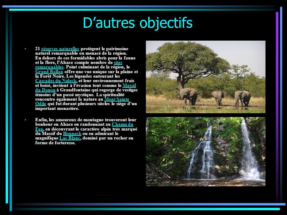 D'autres objectifs 21 réserves naturelles protègent le patrimoine naturel remarquable ou menacé de la région.