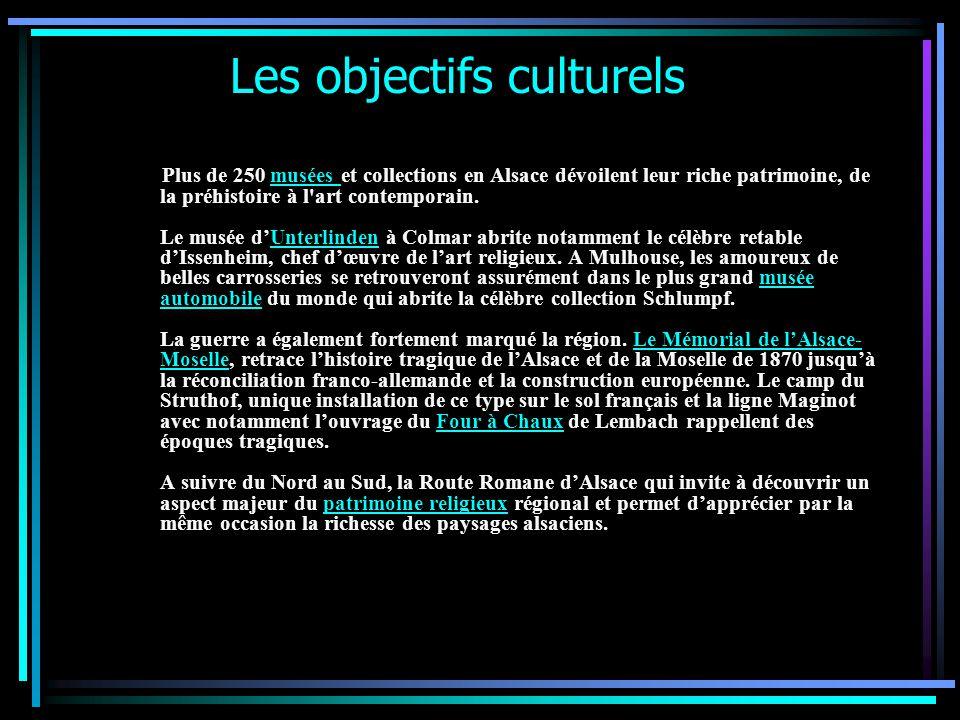 Les objectifs culturels Plus de 250 musées et collections en Alsace dévoilent leur riche patrimoine, de la préhistoire à l art contemporain.