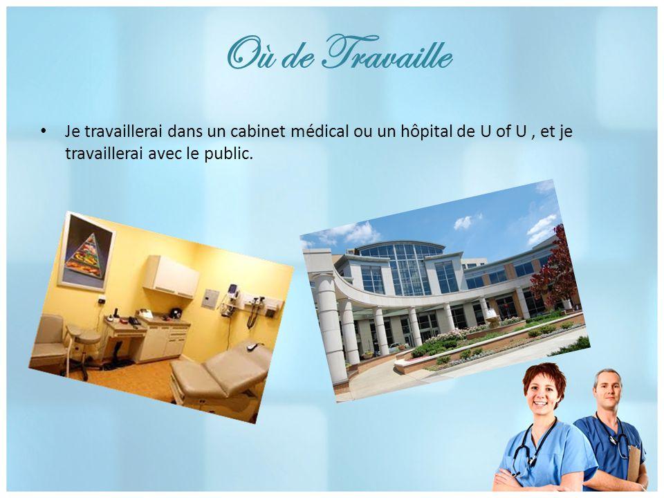 Où de Travaille Je travaillerai dans un cabinet médical ou un hôpital de U of U, et je travaillerai avec le public.