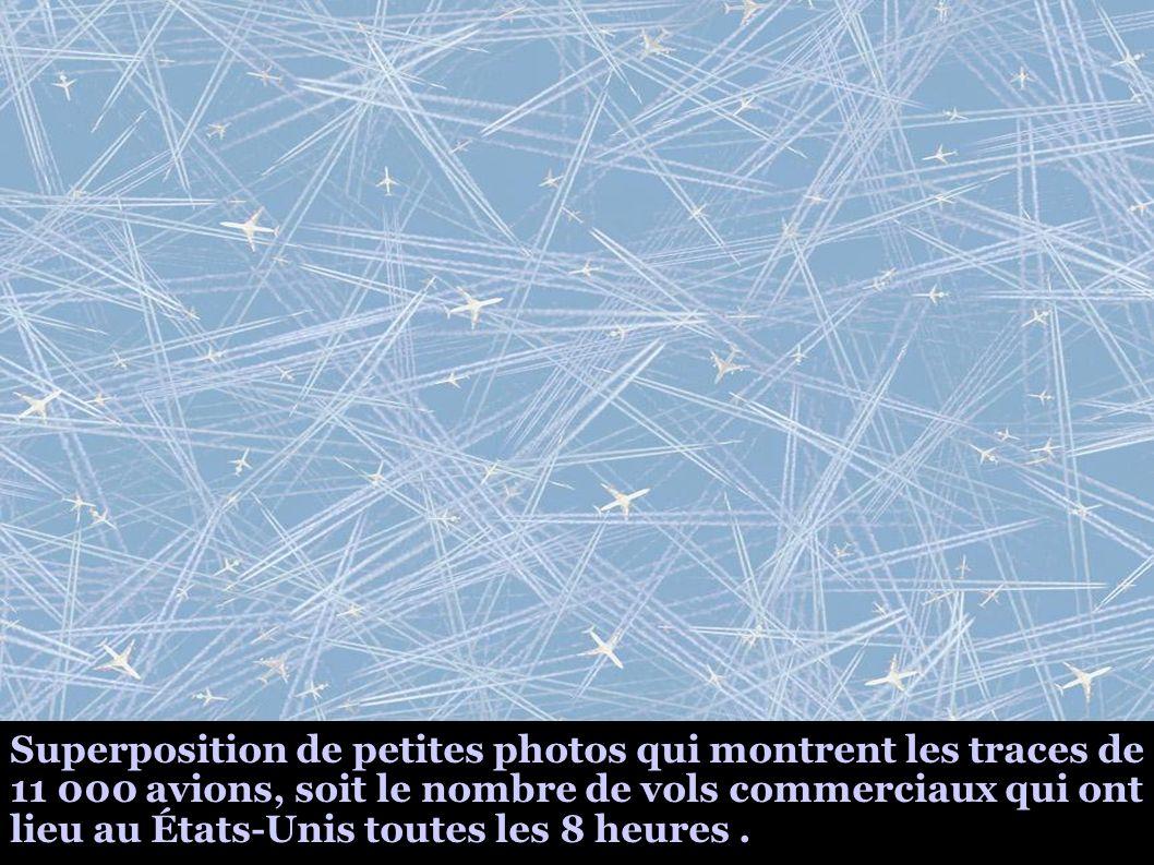 Superposition de petites photos qui montrent les traces de 11 000 avions, soit le nombre de vols commerciaux qui ont lieu au États-Unis toutes les 8 h