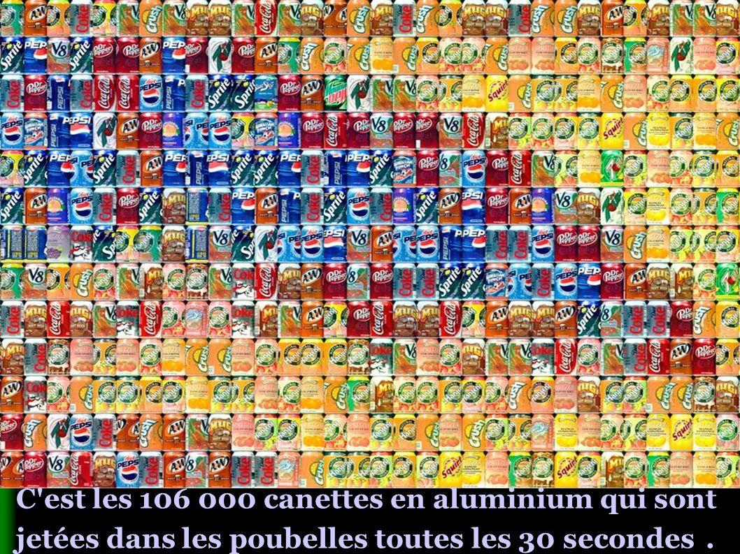 C est les 106 000 canettes en aluminium qui sont jetées dans les poubelles toutes les 30 secondes.