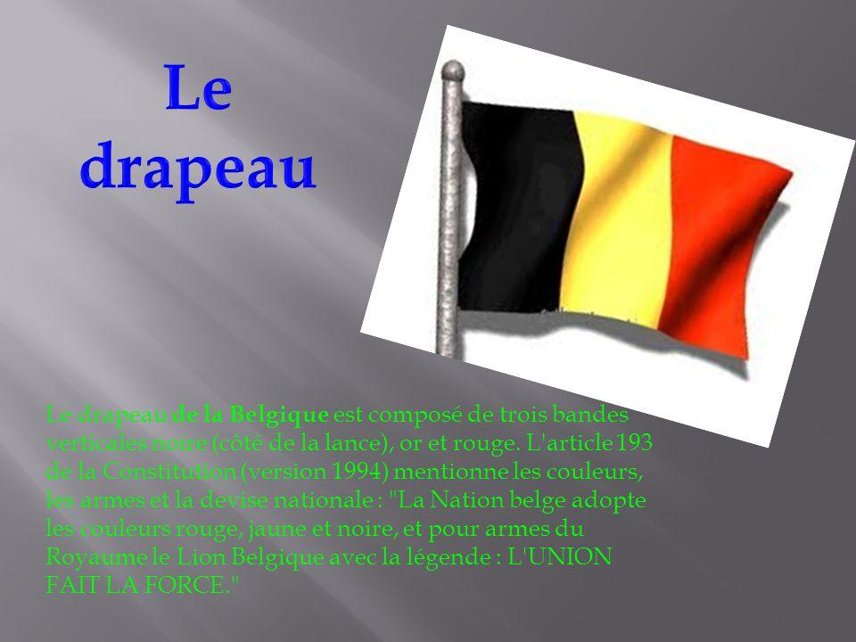 Le drapeau de la Belgique est composé de trois bandes verticales noire (côté de la lance), or et rouge.