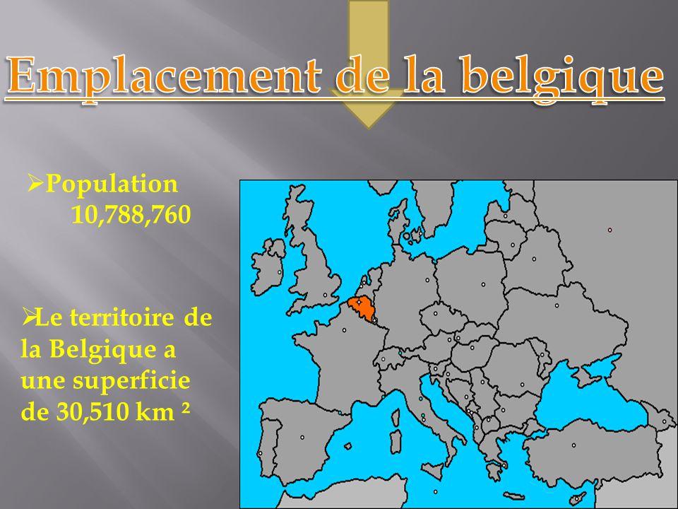  Population 10,788,760  Le territoire de la Belgique a une superficie de 30,510 km ²