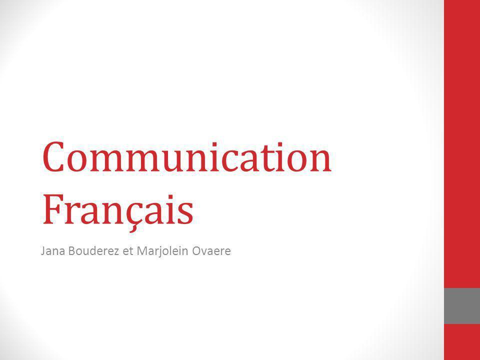 Communication Français Jana Bouderez et Marjolein Ovaere