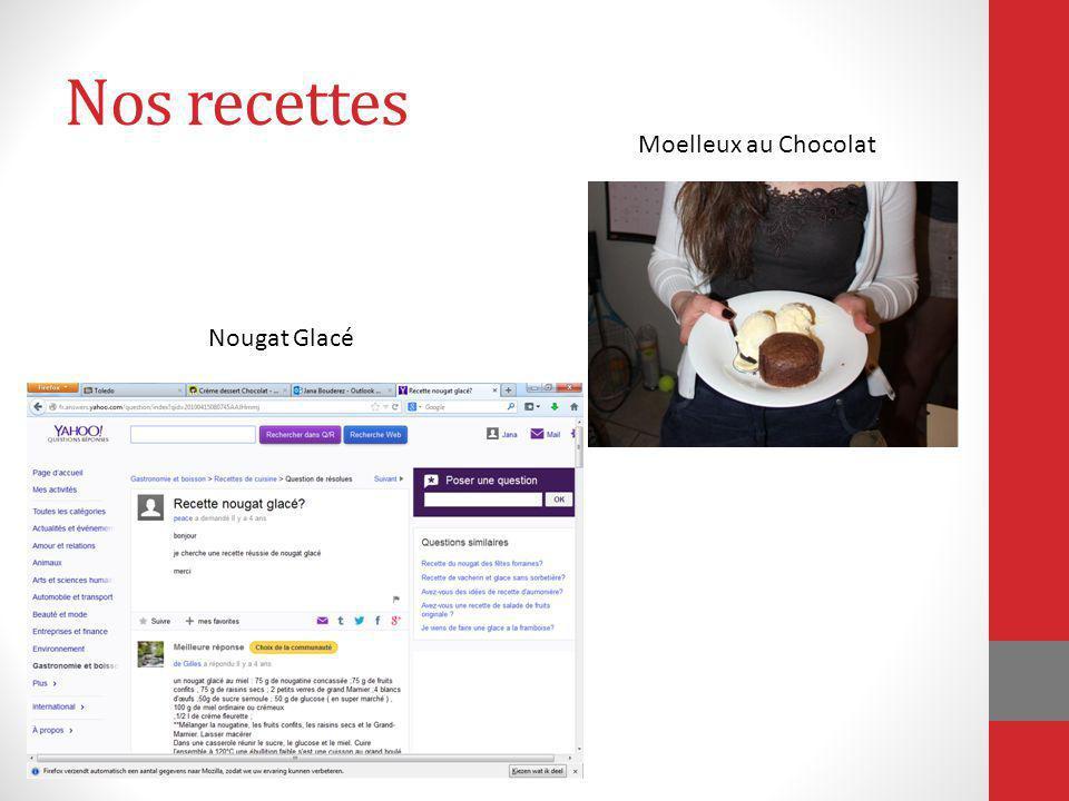 Nos recettes Moelleux au Chocolat Nougat Glacé