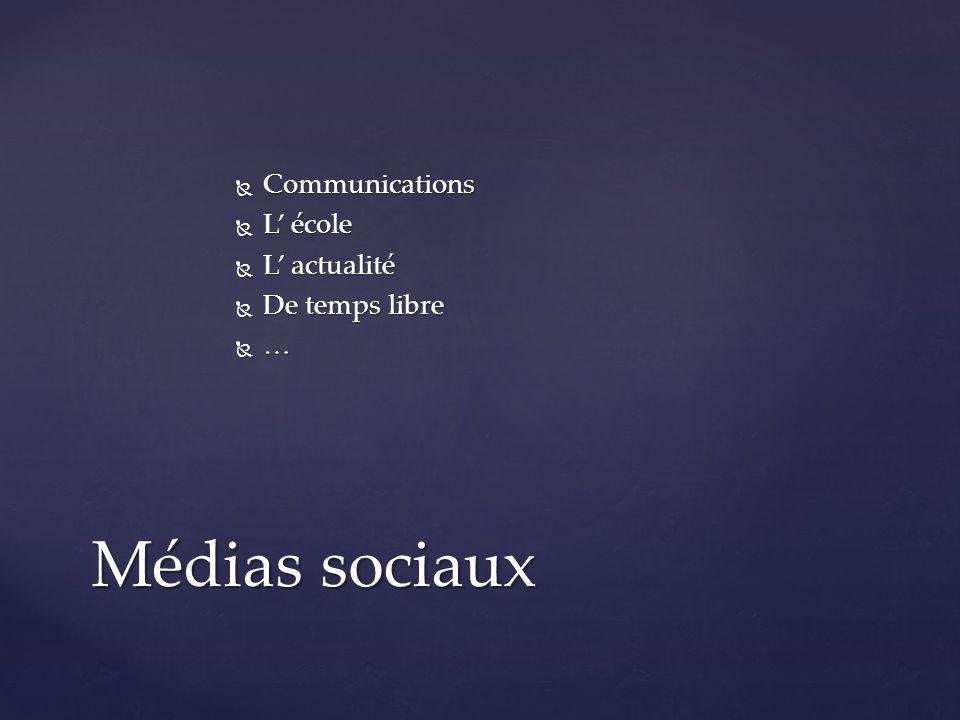  Communications  L' école  L' actualité  De temps libre  … Médias sociaux