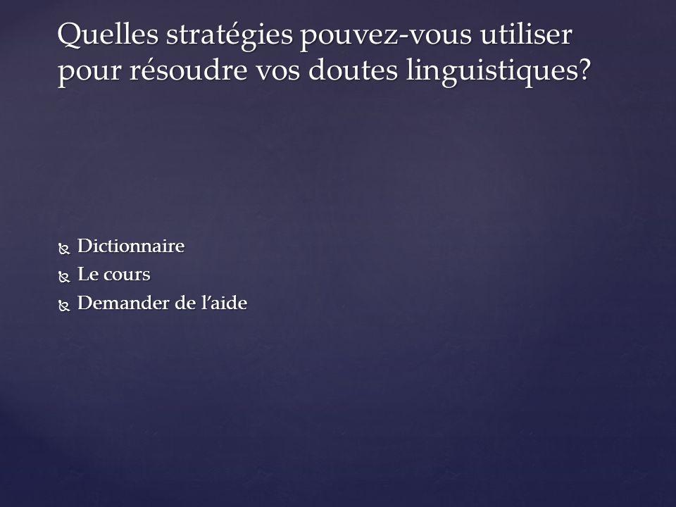  Dictionnaire  Le cours  Demander de l'aide Quelles stratégies pouvez-vous utiliser pour résoudre vos doutes linguistiques