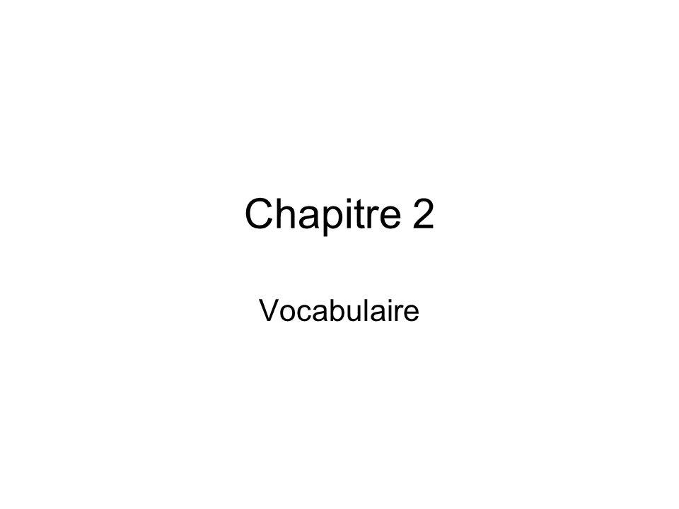 Chapitre 2 Vocabulaire