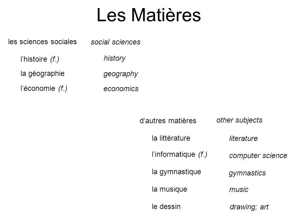 Les Matières l'histoire (f.) la géographie l'économie (f.) history geography economics les sciences sociales social sciences la littérature l'informat