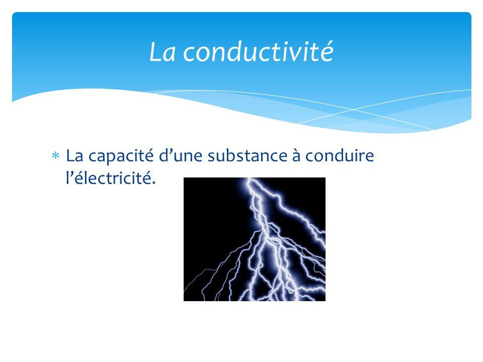  La capacité d'une substance à conduire l'électricité. La conductivité