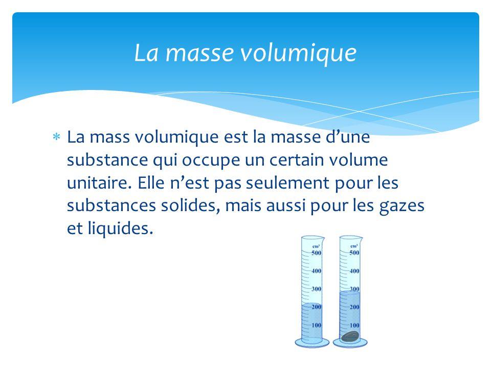  La mass volumique est la masse d'une substance qui occupe un certain volume unitaire. Elle n'est pas seulement pour les substances solides, mais aus