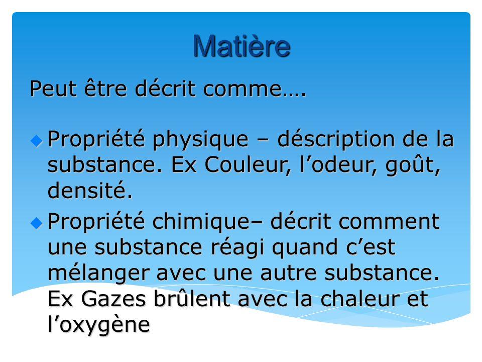 Matière Peut être décrit comme…. Propriété physique – déscription de la substance.