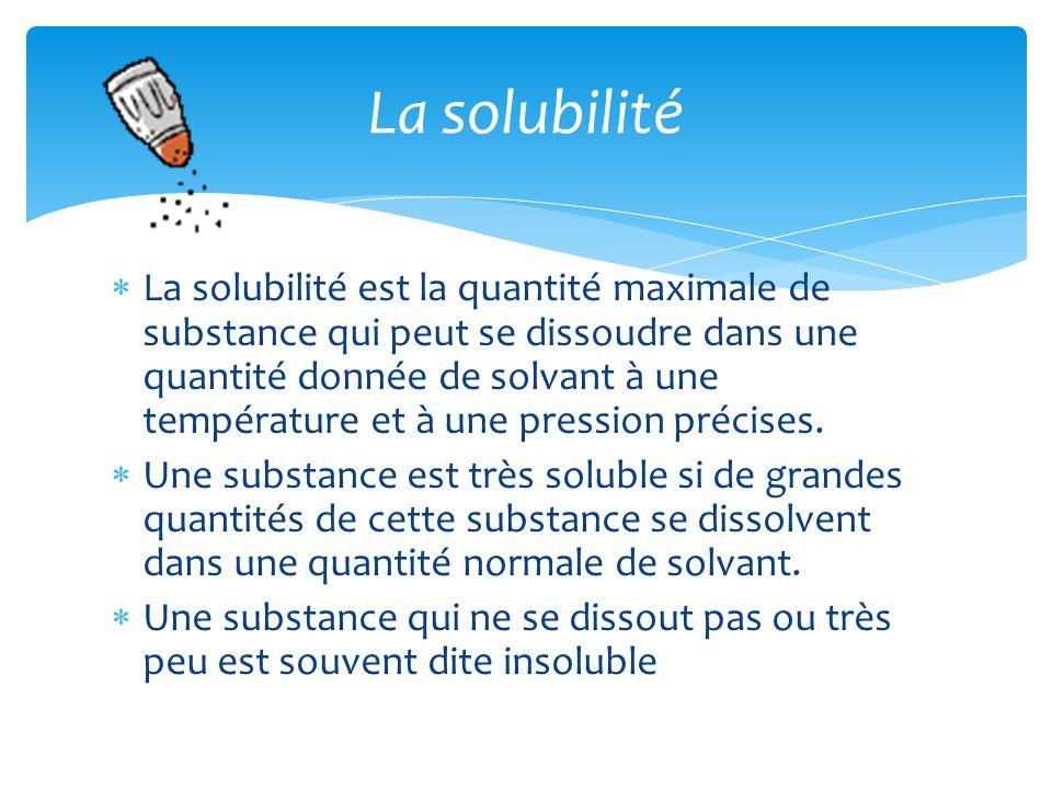  La solubilité est la quantité maximale de substance qui peut se dissoudre dans une quantité donnée de solvant à une température et à une pression précises.