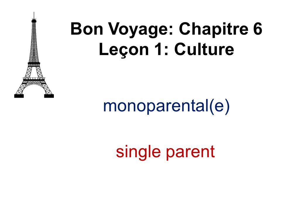 monoparental(e) Bon Voyage: Chapitre 6 Leçon 1: Culture single parent