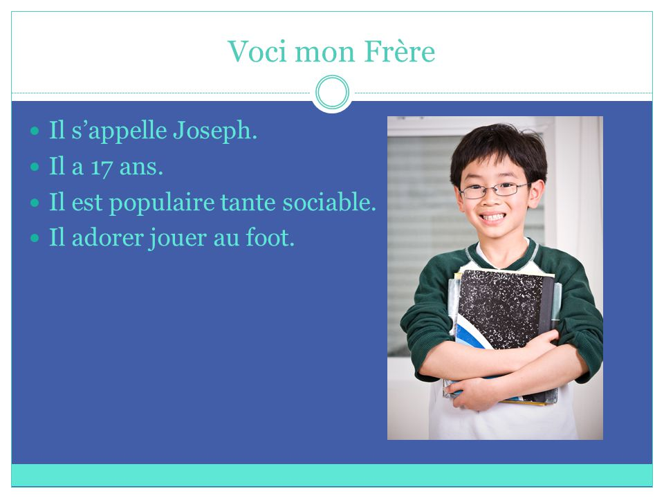 Voci mon Frère Il s'appelle Joseph. Il a 17 ans. Il est populaire tante sociable.