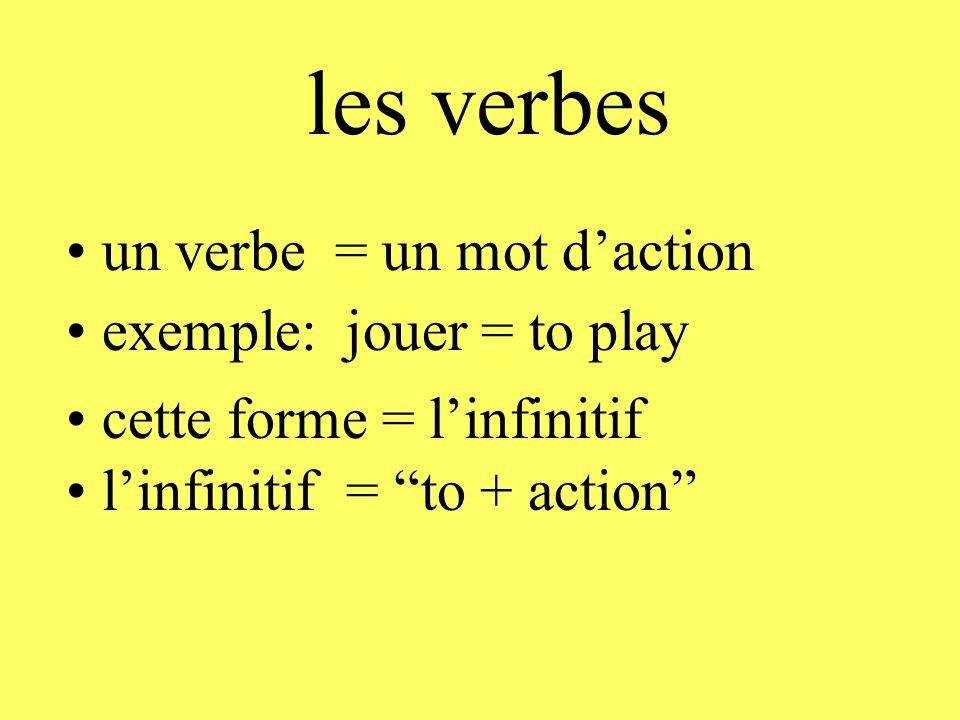 """les verbes l'infinitif = """"to + action"""" un verbe = un mot d'action exemple: jouer = to play cette forme = l'infinitif"""