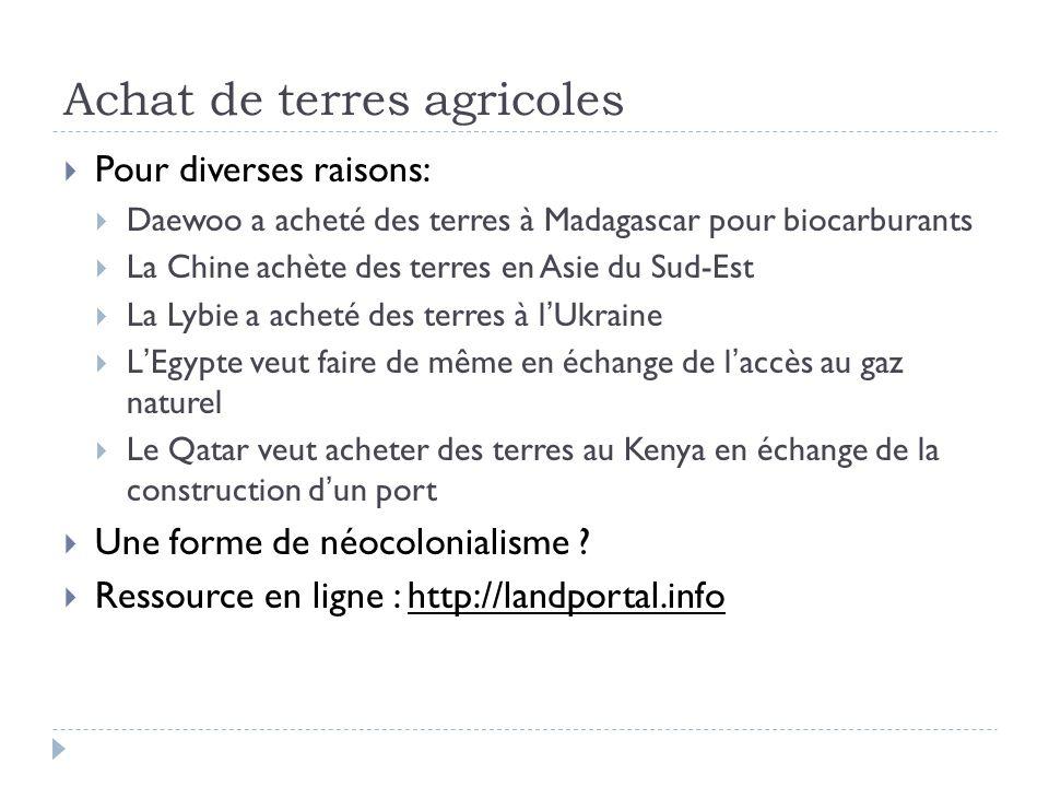 Achat de terres agricoles  Pour diverses raisons:  Daewoo a acheté des terres à Madagascar pour biocarburants  La Chine achète des terres en Asie d