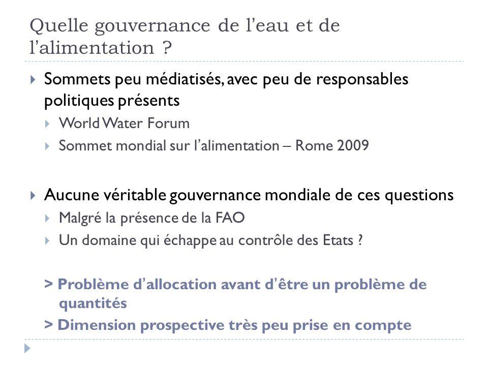Quelle gouvernance de l'eau et de l'alimentation ?  Sommets peu médiatisés, avec peu de responsables politiques présents  World Water Forum  Sommet