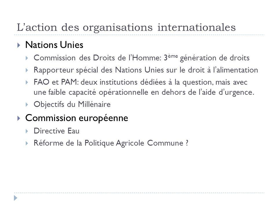 L'action des organisations internationales  Nations Unies  Commission des Droits de l'Homme: 3 ème génération de droits  Rapporteur spécial des Nat