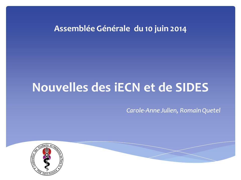 Assemblée Générale du 10 juin 2014 Nouvelles des iECN et de SIDES Carole-Anne Julien, Romain Quetel