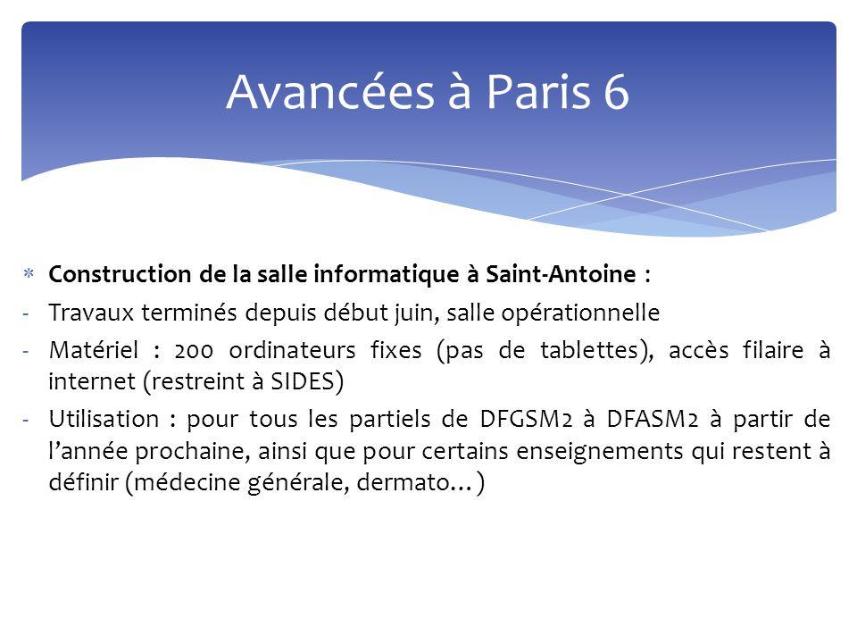  Construction de la salle informatique à Saint-Antoine : -Travaux terminés depuis début juin, salle opérationnelle -Matériel : 200 ordinateurs fixes