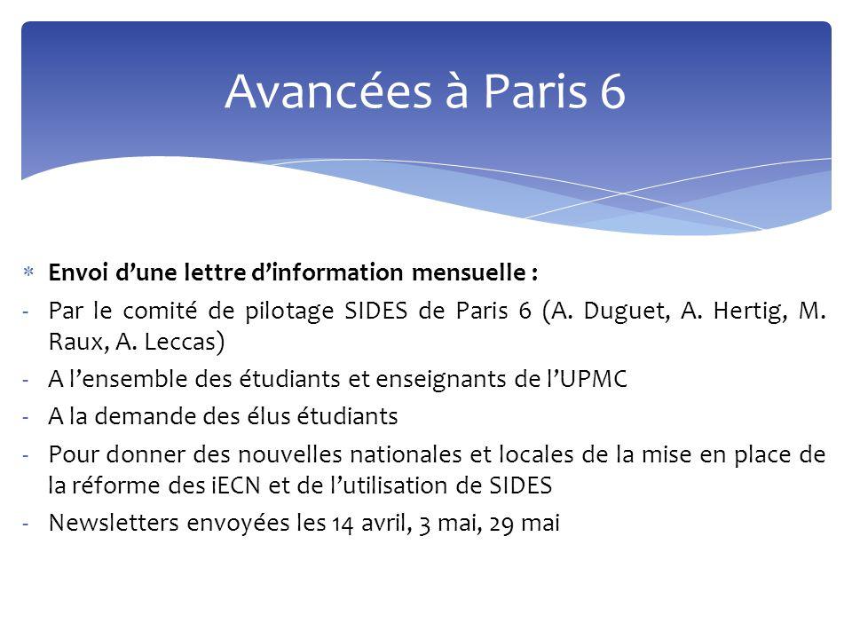  Envoi d'une lettre d'information mensuelle : -Par le comité de pilotage SIDES de Paris 6 (A. Duguet, A. Hertig, M. Raux, A. Leccas) -A l'ensemble de