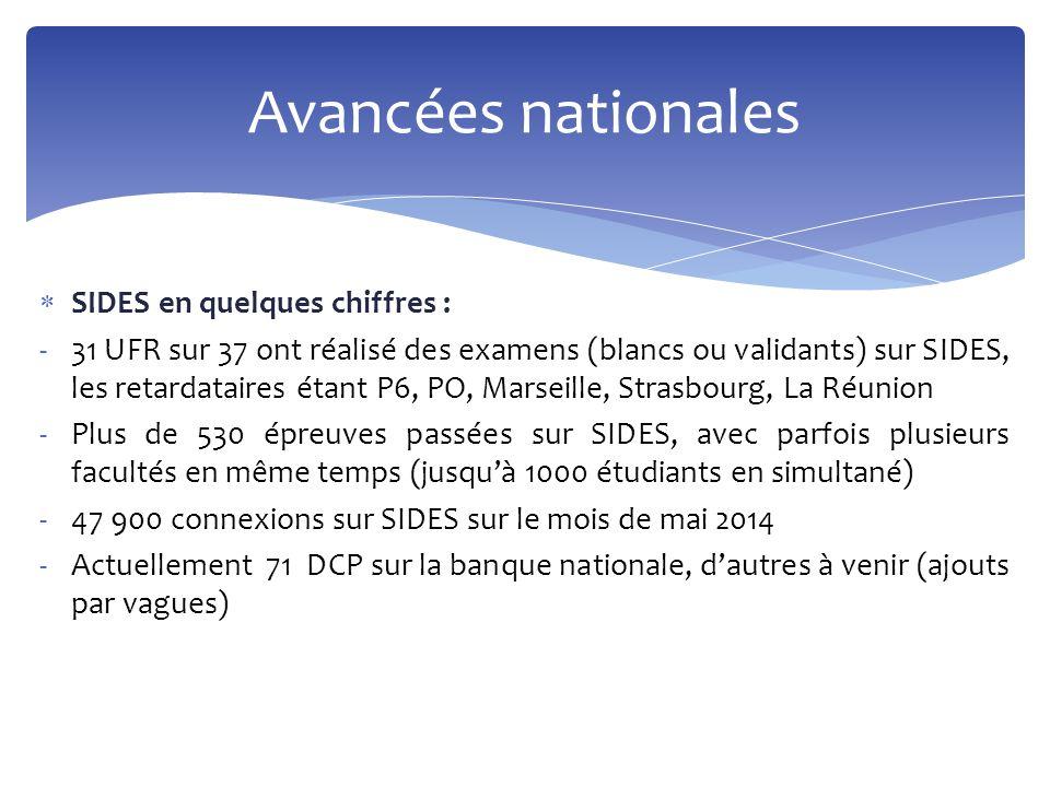  SIDES en quelques chiffres : -31 UFR sur 37 ont réalisé des examens (blancs ou validants) sur SIDES, les retardataires étant P6, PO, Marseille, Stra
