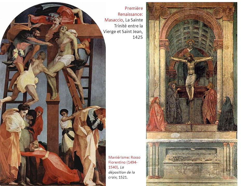 Maniérisme: Rosso Fiorentino (1494- 1540), La déposition de la croix, 1521. Première Renaissance: Masaccio, La Sainte Trinité entre la Vierge et Saint