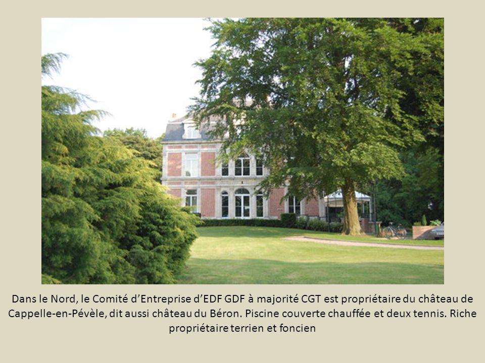 Dans le Nord, le Comité d'Entreprise d'EDF GDF à majorité CGT est propriétaire du château de Cappelle-en-Pévèle, dit aussi château du Béron.