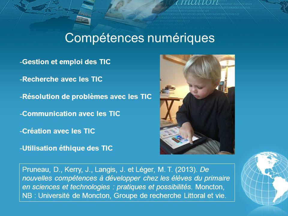 Compétences numériques -Gestion et emploi des TIC -Recherche avec les TIC -Résolution de problèmes avec les TIC -Communication avec les TIC -Création avec les TIC -Utilisation éthique des TIC Pruneau, D., Kerry, J., Langis, J.