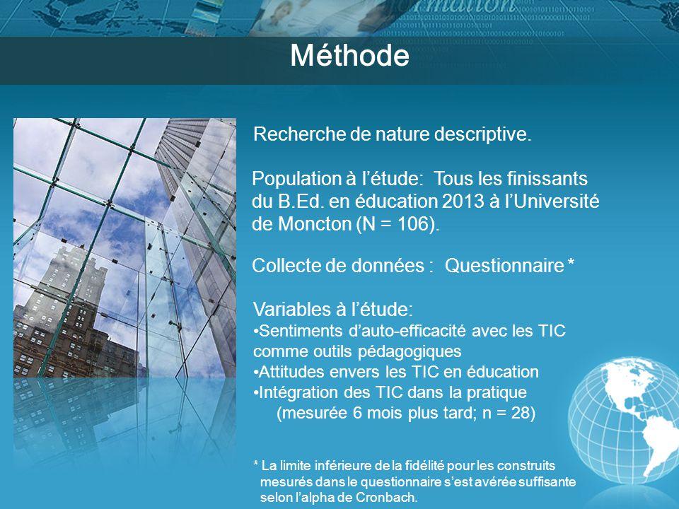 Méthode Recherche de nature descriptive. Population à l'étude: Tous les finissants du B.Ed.