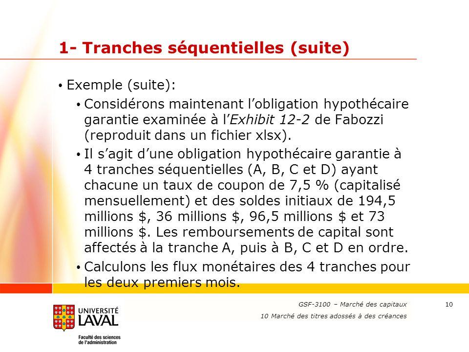www.ulaval.ca 10 1- Tranches séquentielles (suite) Exemple (suite): Considérons maintenant l'obligation hypothécaire garantie examinée à l'Exhibit 12-