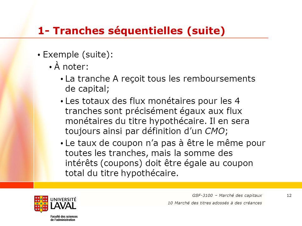 www.ulaval.ca 12 1- Tranches séquentielles (suite) Exemple (suite): À noter: La tranche A reçoit tous les remboursements de capital; Les totaux des fl