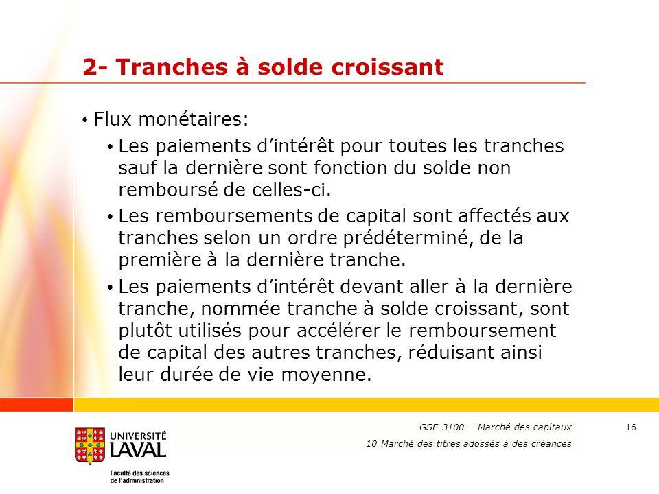 www.ulaval.ca 16 2- Tranches à solde croissant Flux monétaires: Les paiements d'intérêt pour toutes les tranches sauf la dernière sont fonction du sol