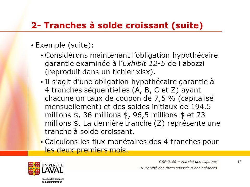 www.ulaval.ca 17 2- Tranches à solde croissant (suite) Exemple (suite): Considérons maintenant l'obligation hypothécaire garantie examinée à l'Exhibit