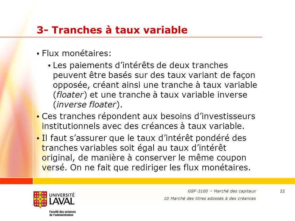 www.ulaval.ca 22 3- Tranches à taux variable Flux monétaires: Les paiements d'intérêts de deux tranches peuvent être basés sur des taux variant de faç