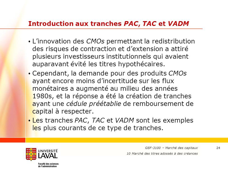 www.ulaval.ca 24 Introduction aux tranches PAC, TAC et VADM L'innovation des CMOs permettant la redistribution des risques de contraction et d'extensi