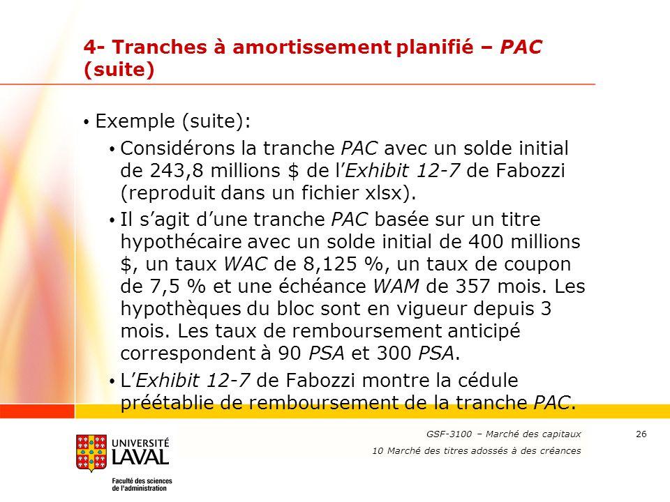 www.ulaval.ca 26 4- Tranches à amortissement planifié – PAC (suite) Exemple (suite): Considérons la tranche PAC avec un solde initial de 243,8 million