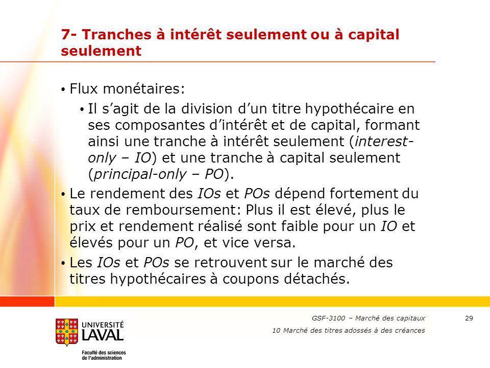 www.ulaval.ca 29 7- Tranches à intérêt seulement ou à capital seulement Flux monétaires: Il s'agit de la division d'un titre hypothécaire en ses compo
