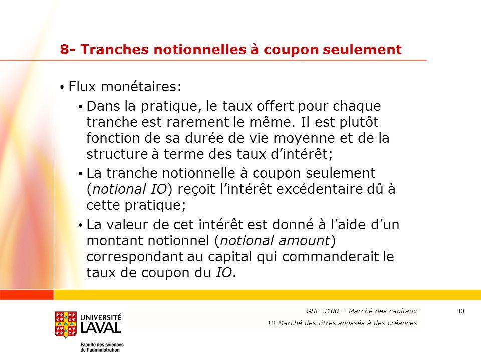 www.ulaval.ca 30 8- Tranches notionnelles à coupon seulement Flux monétaires: Dans la pratique, le taux offert pour chaque tranche est rarement le mêm