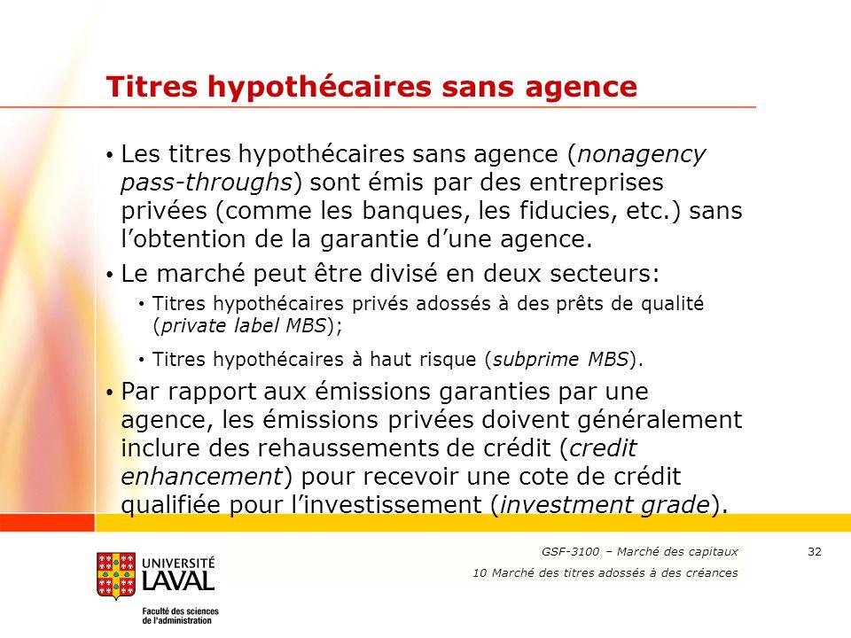 www.ulaval.ca 32 Titres hypothécaires sans agence Les titres hypothécaires sans agence (nonagency pass-throughs) sont émis par des entreprises privées