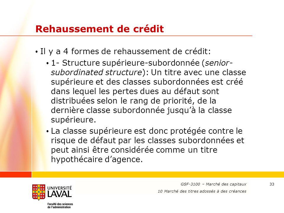 www.ulaval.ca 33 Rehaussement de crédit Il y a 4 formes de rehaussement de crédit: 1- Structure supérieure-subordonnée (senior- subordinated structure