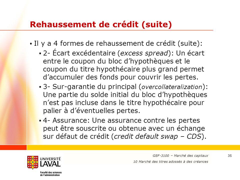 www.ulaval.ca 35 Rehaussement de crédit (suite) Il y a 4 formes de rehaussement de crédit (suite): 2- Écart excédentaire (excess spread): Un écart ent