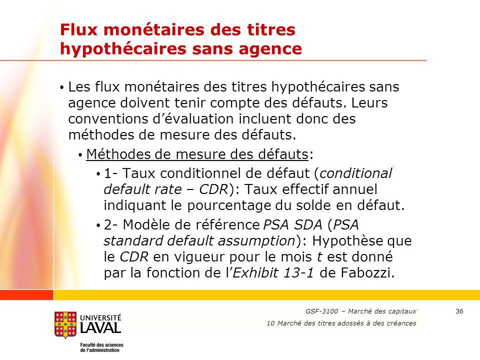 www.ulaval.ca 36 Flux monétaires des titres hypothécaires sans agence Les flux monétaires des titres hypothécaires sans agence doivent tenir compte de