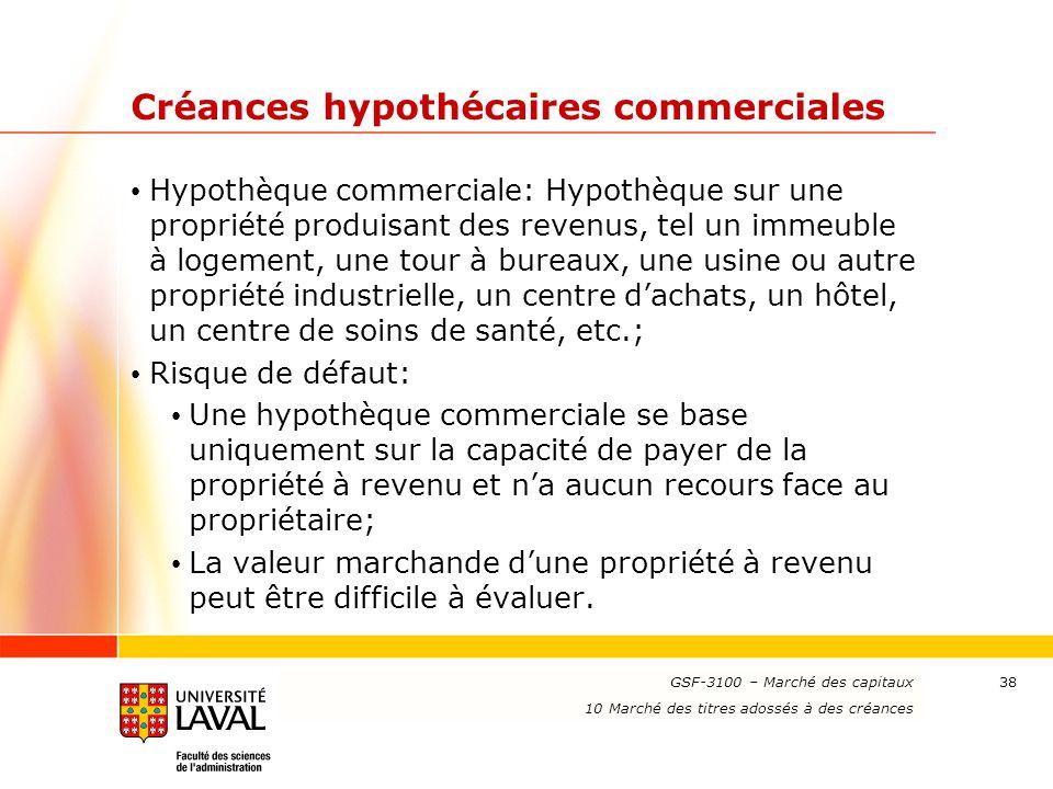 www.ulaval.ca 38 Créances hypothécaires commerciales Hypothèque commerciale: Hypothèque sur une propriété produisant des revenus, tel un immeuble à lo